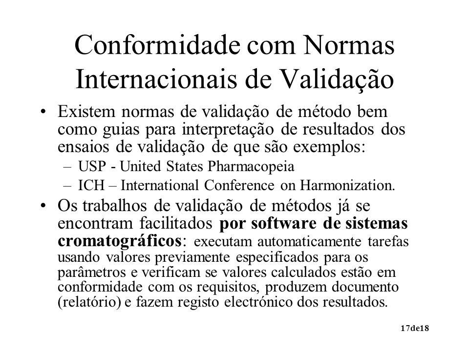 17de18 Conformidade com Normas Internacionais de Validação Existem normas de validação de método bem como guias para interpretação de resultados dos e