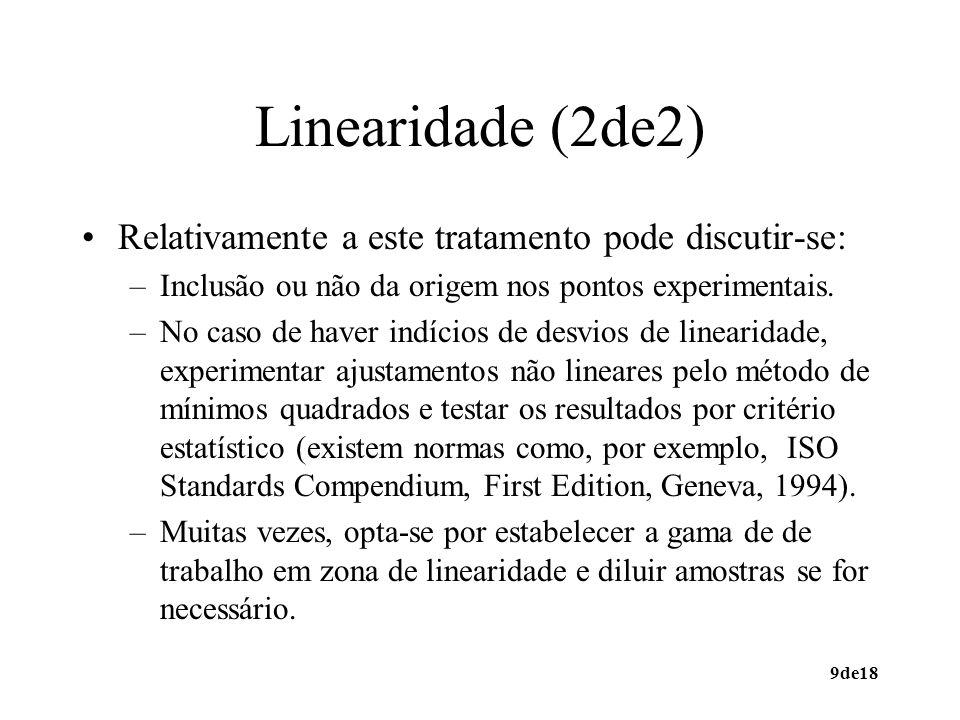 9de18 Linearidade (2de2) Relativamente a este tratamento pode discutir-se: –Inclusão ou não da origem nos pontos experimentais. –No caso de haver indí