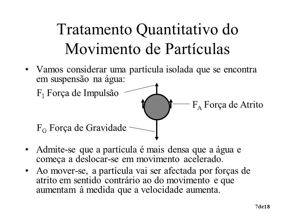 8de18 Tratamento Quantitativo do Movimento de Partículas Como as forças de gravidade (F G ) e de impulsão (F I ) são opostas: p, l densidades da partícula sólida e do líquido V p volume da partícula sólida gconstante de aceleração por gravidade A partícula vai entrar em movimento acelerado e a velocidade aumenta até a força de atrito igualar a resultante das forças de gravidade e impulsão.