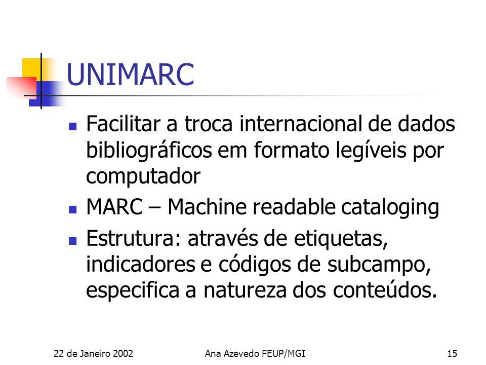 22 de Janeiro 2002Ana Azevedo FEUP/MGI15 UNIMARC Facilitar a troca internacional de dados bibliográficos em formato legíveis por computador MARC – Machine readable cataloging Estrutura: através de etiquetas, indicadores e códigos de subcampo, especifica a natureza dos conteúdos.