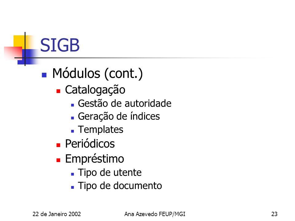 22 de Janeiro 2002Ana Azevedo FEUP/MGI23 SIGB Módulos (cont.) Catalogação Gestão de autoridade Geração de índices Templates Periódicos Empréstimo Tipo de utente Tipo de documento