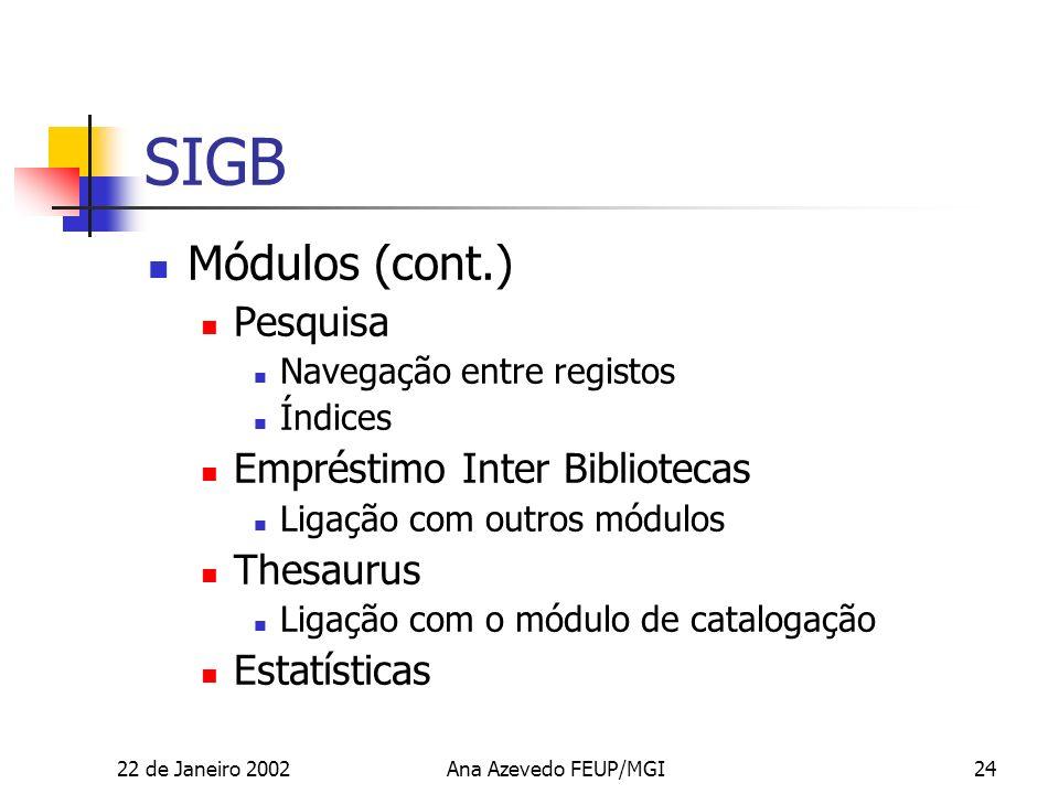 22 de Janeiro 2002Ana Azevedo FEUP/MGI24 SIGB Módulos (cont.) Pesquisa Navegação entre registos Índices Empréstimo Inter Bibliotecas Ligação com outros módulos Thesaurus Ligação com o módulo de catalogação Estatísticas