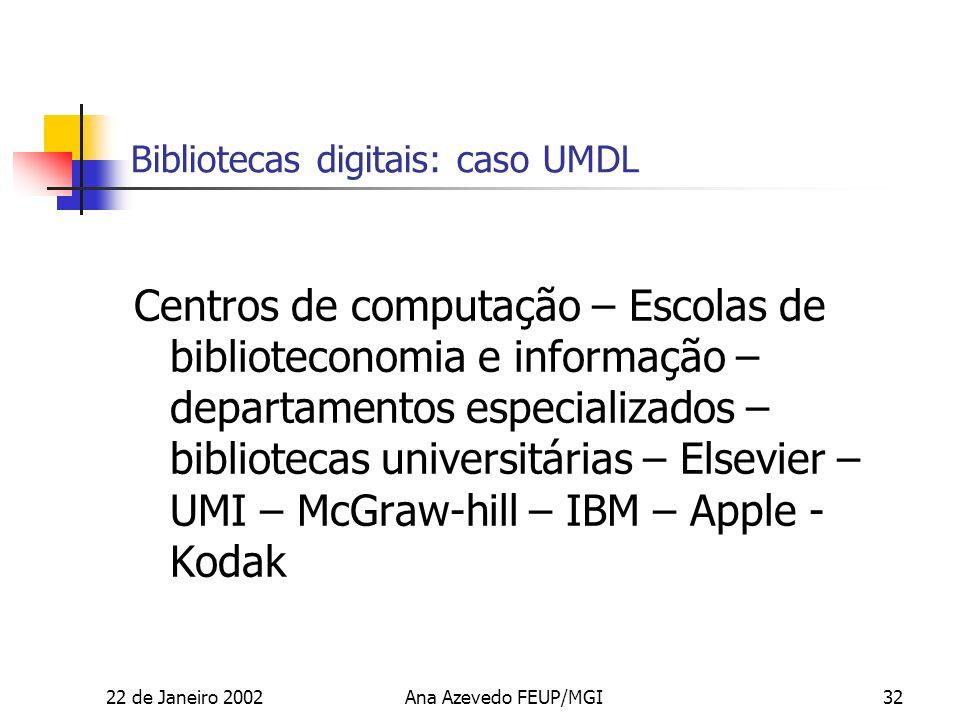 22 de Janeiro 2002Ana Azevedo FEUP/MGI32 Bibliotecas digitais: caso UMDL Centros de computação – Escolas de biblioteconomia e informação – departamentos especializados – bibliotecas universitárias – Elsevier – UMI – McGraw-hill – IBM – Apple - Kodak