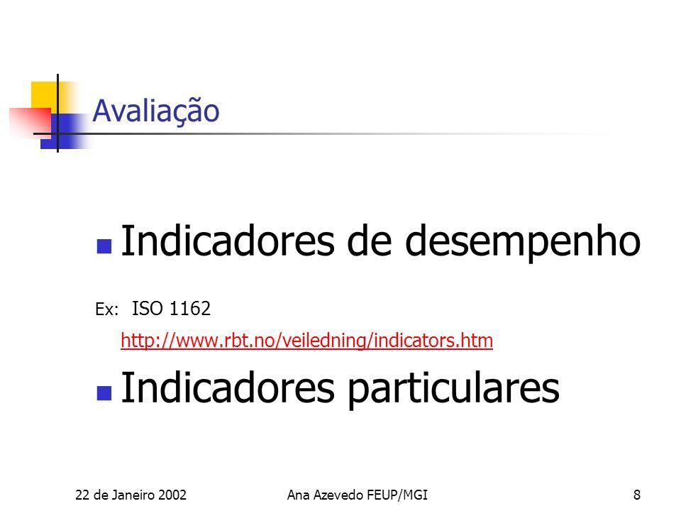 22 de Janeiro 2002Ana Azevedo FEUP/MGI8 Avaliação Indicadores de desempenho Ex: ISO 1162 http://www.rbt.no/veiledning/indicators.htm Indicadores particulares