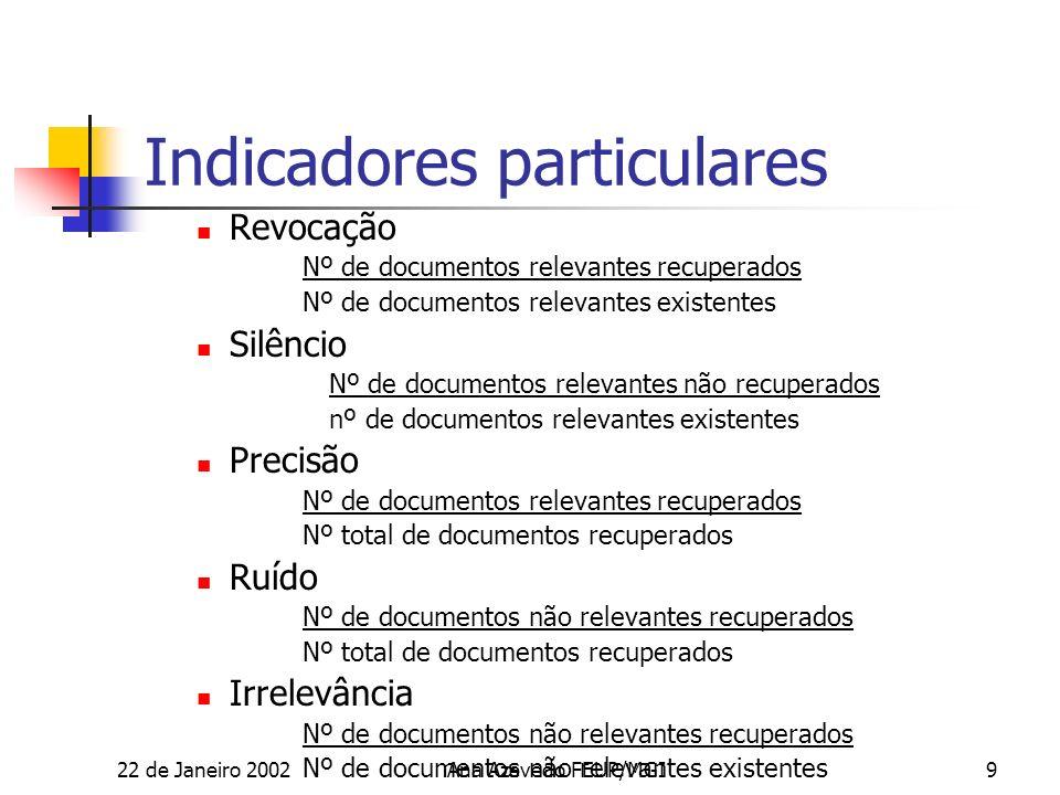22 de Janeiro 2002Ana Azevedo FEUP/MGI20 THESAURUS Ver http://www.ulcc.ac.uk/unesco/ http://europa.eu.int/celex/eurovoc/