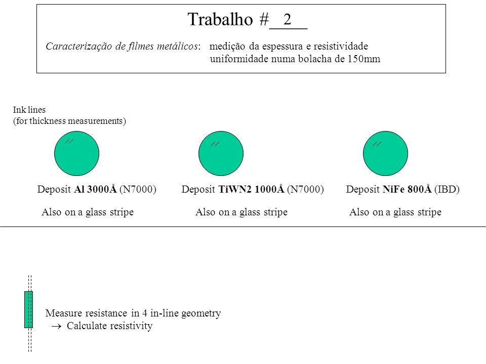 Trabalho #____ Caracterização de filmes metálicos: medição da espessura e resistividade uniformidade numa bolacha de 150mm Deposit Al 3000Å (N7000)Deposit TiWN2 1000Å (N7000)Deposit NiFe 800Å (IBD) Ink lines (for thickness measurements) Also on a glass stripe Measure resistance in 4 in-line geometry Calculate resistivity 2