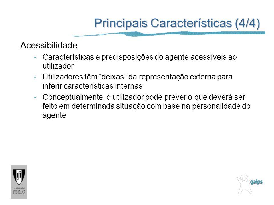 Principais Características (4/4) Acessibilidade Características e predisposições do agente acessíveis ao utilizador Utilizadores têm deixas da represe