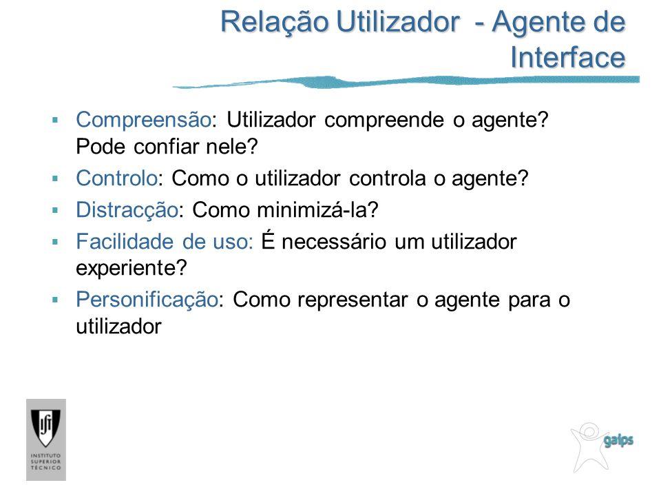 Relação Utilizador - Agente de Interface Compreensão: Utilizador compreende o agente? Pode confiar nele? Controlo: Como o utilizador controla o agente