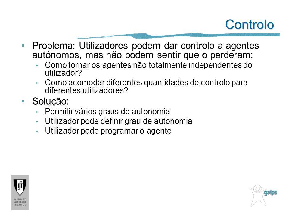 Controlo Problema: Utilizadores podem dar controlo a agentes autónomos, mas não podem sentir que o perderam: Como tornar os agentes não totalmente ind