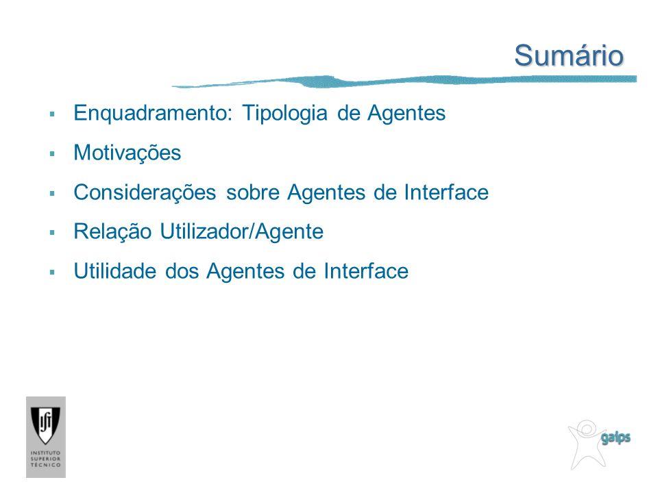 Sumário Enquadramento: Tipologia de Agentes Motivações Considerações sobre Agentes de Interface Relação Utilizador/Agente Utilidade dos Agentes de Int