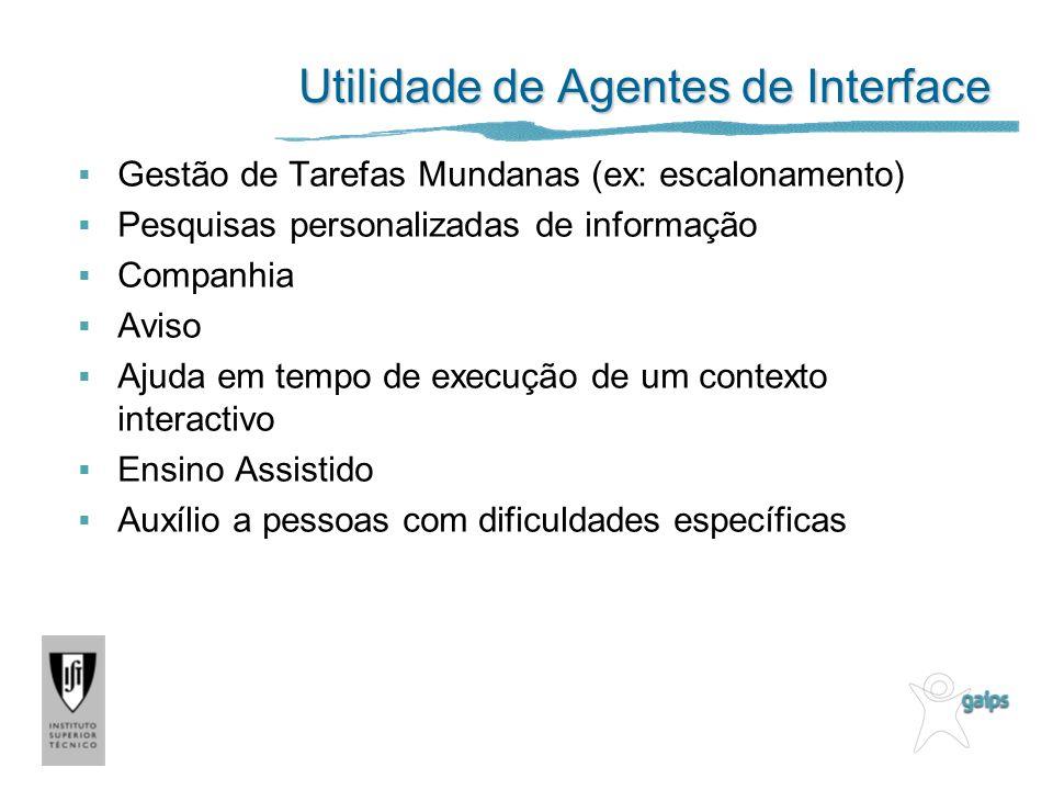 Utilidade de Agentes de Interface Gestão de Tarefas Mundanas (ex: escalonamento) Pesquisas personalizadas de informação Companhia Aviso Ajuda em tempo