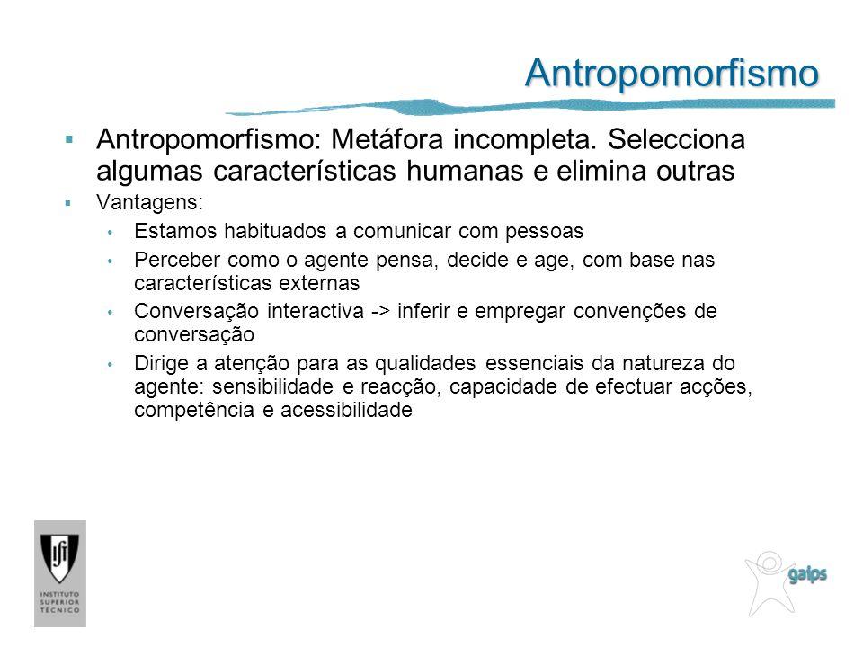 Antropomorfismo Antropomorfismo: Metáfora incompleta. Selecciona algumas características humanas e elimina outras Vantagens: Estamos habituados a comu