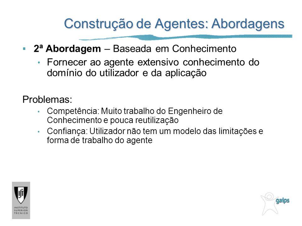 Construção de Agentes: Abordagens 2ª Abordagem – Baseada em Conhecimento Fornecer ao agente extensivo conhecimento do domínio do utilizador e da aplic