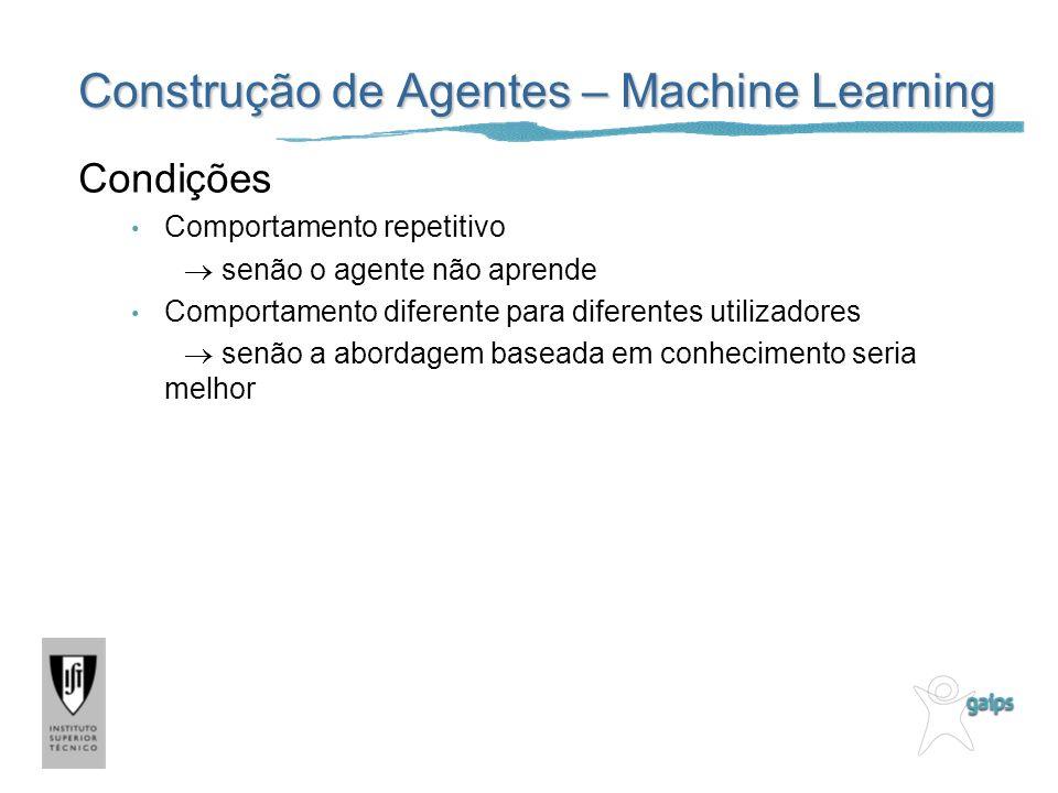 Construção de Agentes – Machine Learning Condições Comportamento repetitivo senão o agente não aprende Comportamento diferente para diferentes utiliza