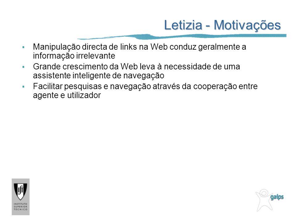 Letizia - Motivações Manipulação directa de links na Web conduz geralmente a informação irrelevante Grande crescimento da Web leva à necessidade de um