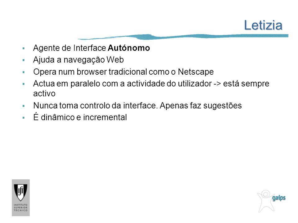 Letizia Agente de Interface Autónomo Ajuda a navegação Web Opera num browser tradicional como o Netscape Actua em paralelo com a actividade do utiliza