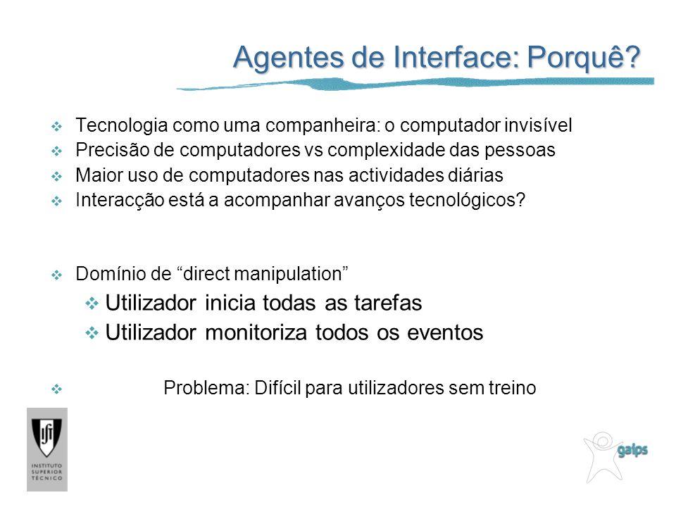 Relação Utilizador - Agente de Interface Compreensão: Utilizador compreende o agente.