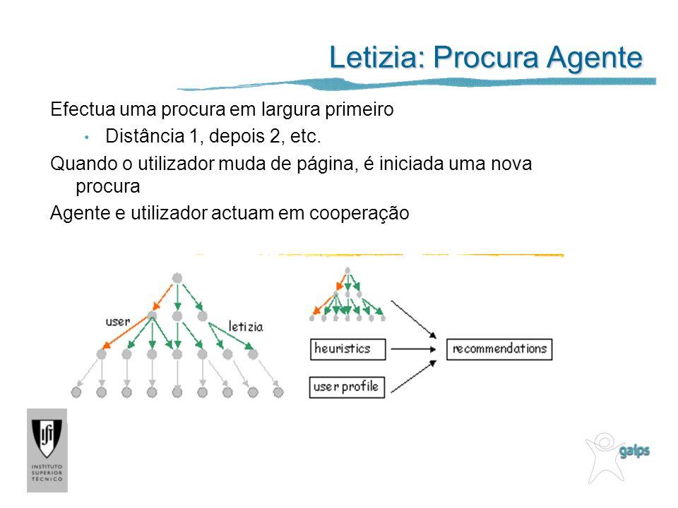 Letizia: Procura Agente Efectua uma procura em largura primeiro Distância 1, depois 2, etc. Quando o utilizador muda de página, é iniciada uma nova pr