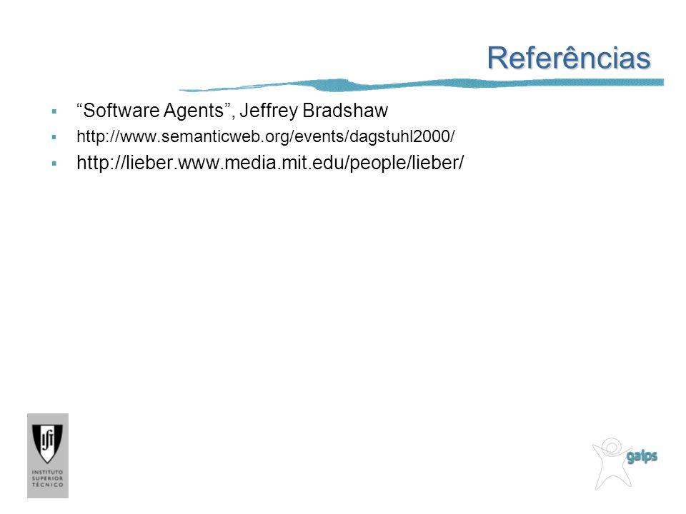 Referências Software Agents, Jeffrey Bradshaw http://www.semanticweb.org/events/dagstuhl2000/ http://lieber.www.media.mit.edu/people/lieber/