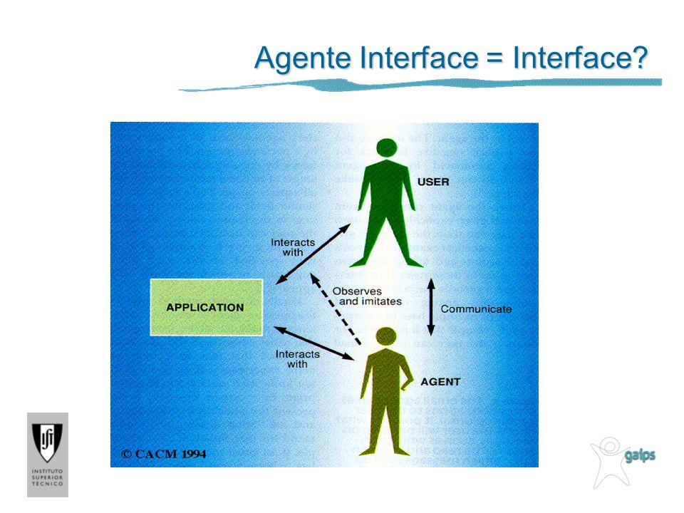 Construção de Agentes – Machine Learning Hipóteses Agente de interface pode programar-se a si próprio Recebe um conhecimento mínimo inicial Aprende o comportamento apropriado com o utilizador e outros agentes Trabalha como um assistente pessoal, isto é, torna-se cada vez mais útil e competente Metáfora: Assistente Pessoal