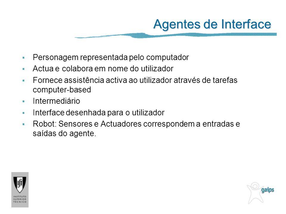 Agentes de Interface Personagem representada pelo computador Actua e colabora em nome do utilizador Fornece assistência activa ao utilizador através d