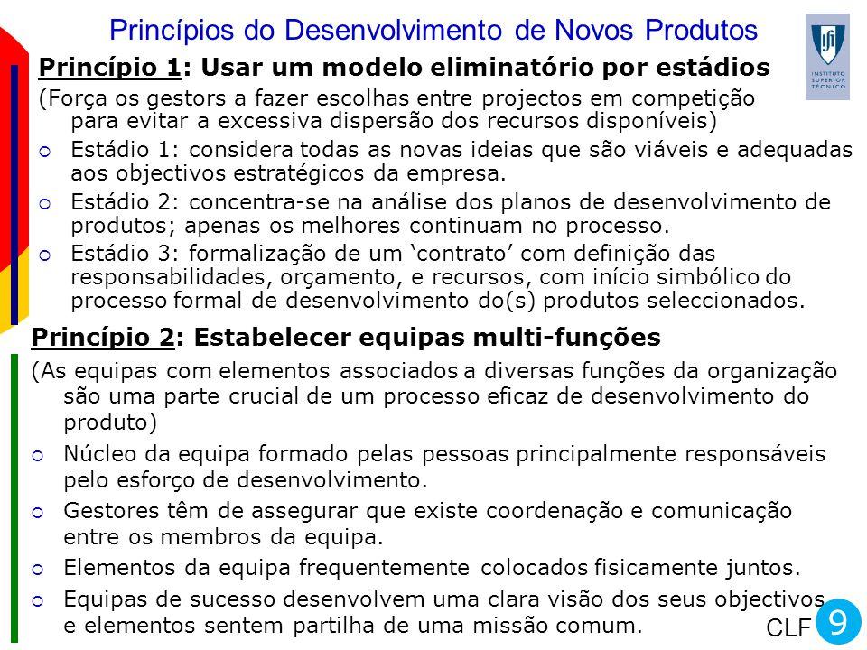 CLF Princípios do Desenvolvimento de Novos Produtos Princípio 1: Usar um modelo eliminatório por estádios (Força os gestors a fazer escolhas entre pro
