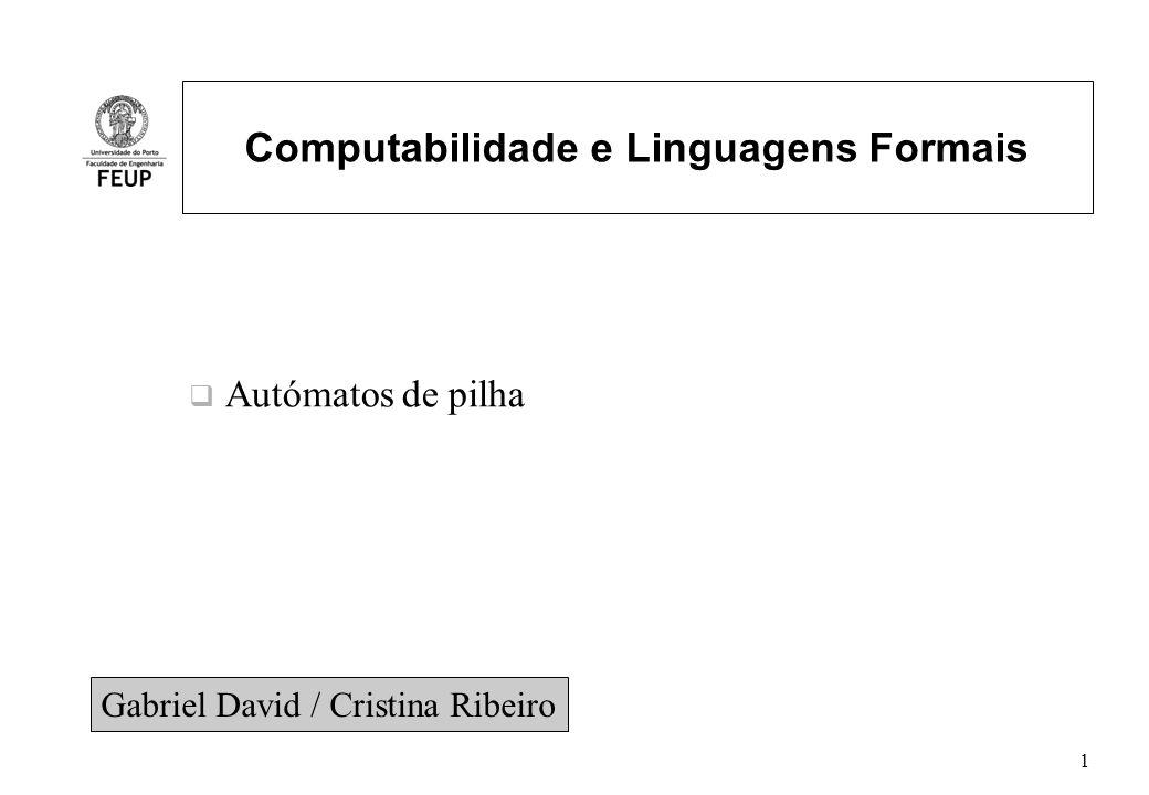 Autómatos de pilha-12 Linguagens de um PDA Aceitação por estado final – Seja o PDA P = (Q,,,, q 0, Z 0, F) – Linguagem de P aceite por estado final – L(P) = {w   (q 0,w,Z 0 ) * (q,,α)} e q F – Conteúdo final da pilha é irrelevante Exemplo: – (q 0,ww R,Z 0 ) * (q 0,w R,w R Z 0 ) (q 1,w R,w R Z 0 ) * (q 1,,Z 0 ) (q 2,,Z 0 ) Aceitação por pilha vazia – N(P) = {w   (q 0,w,Z 0 ) * (q,, )} – Linguagem aceite por pilha vazia, conjunto de entradas w que P consome esvaziando ao mesmo tempo a pilha (N(P) – pilha nula) Mesmo exemplo: modificação para esvaziar a pilha e obter N(P)=L(P) – (q 1,,Z 0 )= {(q 2,Z 0 )} passa a ser (q 1,,Z 0 )= {(q 2, )} – (q 0,ww R,Z 0 ) * (q 0,w R,w R Z 0 ) (q 1,w R,w R Z 0 ) * (q 1,,Z 0 ) (q 2,, )