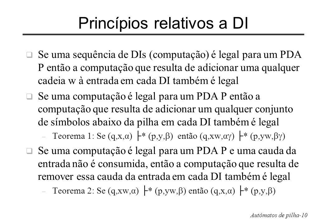 Autómatos de pilha-10 Princípios relativos a DI Se uma sequência de DIs (computação) é legal para um PDA P então a computação que resulta de adicionar
