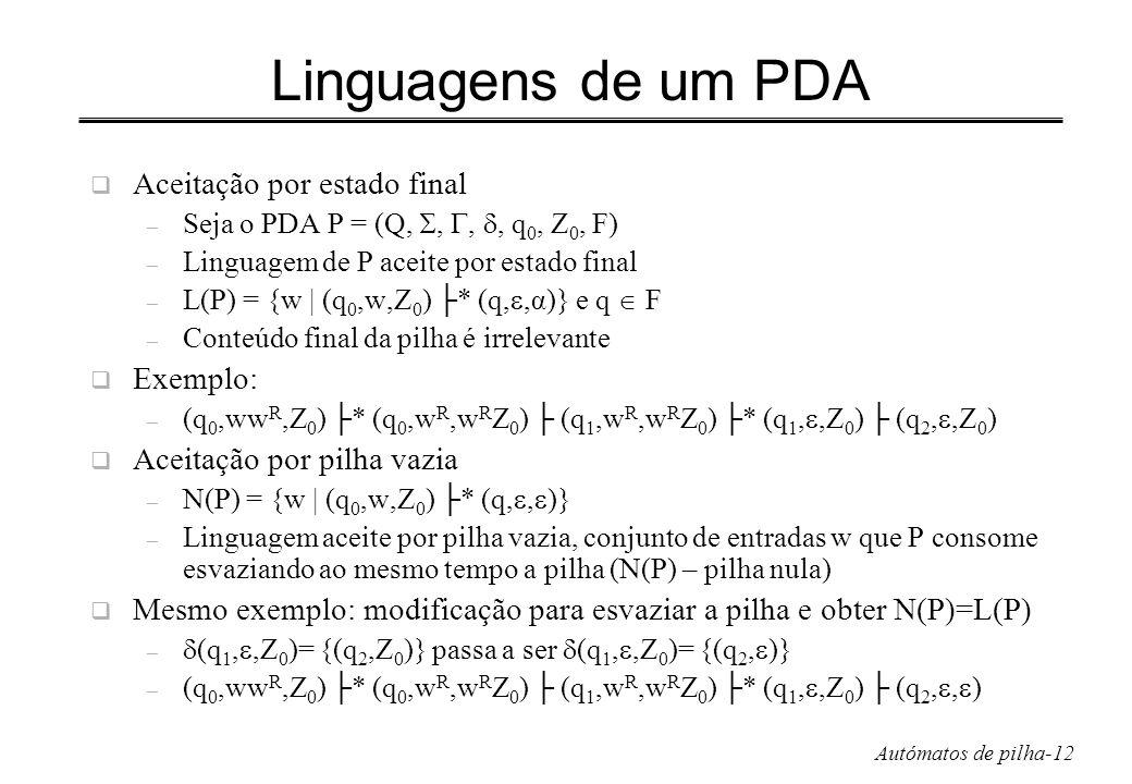 Autómatos de pilha-12 Linguagens de um PDA Aceitação por estado final – Seja o PDA P = (Q,,,, q 0, Z 0, F) – Linguagem de P aceite por estado final –