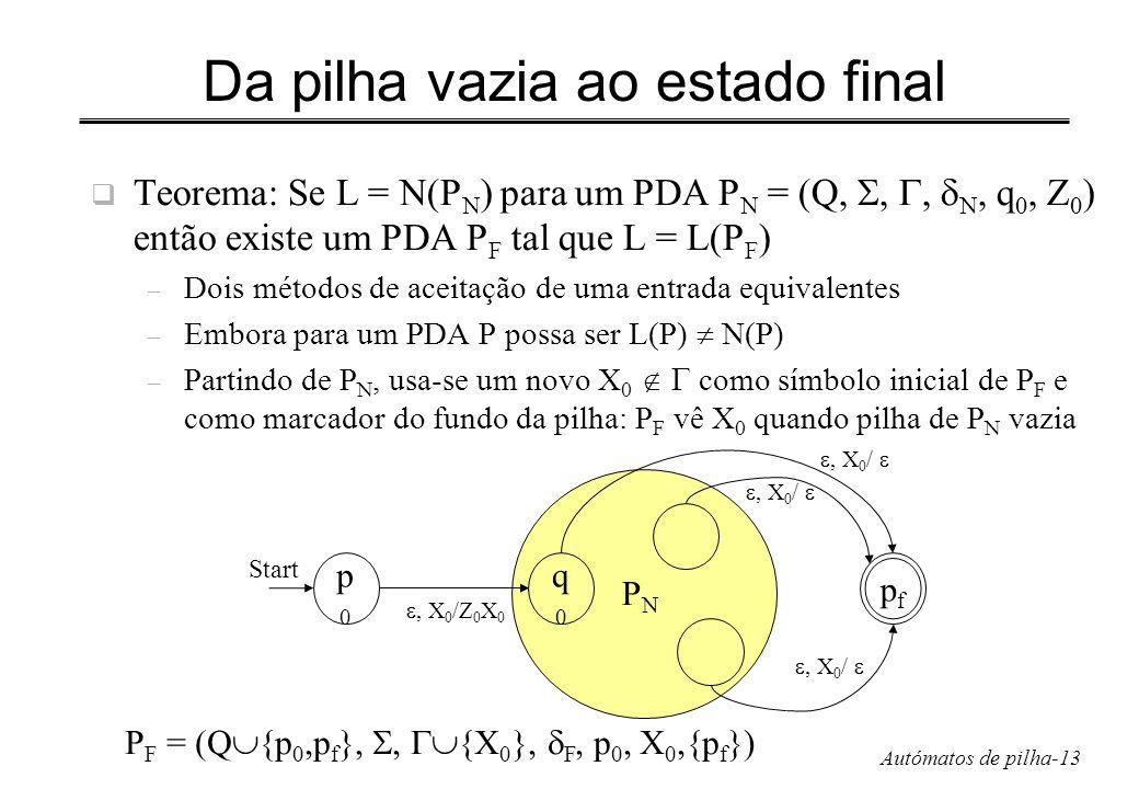 Autómatos de pilha-13 Da pilha vazia ao estado final Teorema: Se L = N(P N ) para um PDA P N = (Q,,, N, q 0, Z 0 ) então existe um PDA P F tal que L =