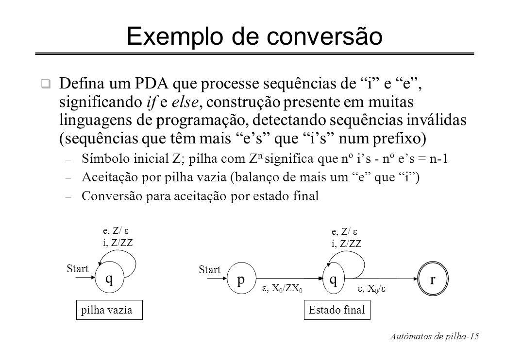Autómatos de pilha-15 Exemplo de conversão Defina um PDA que processe sequências de i e e, significando if e else, construção presente em muitas lingu