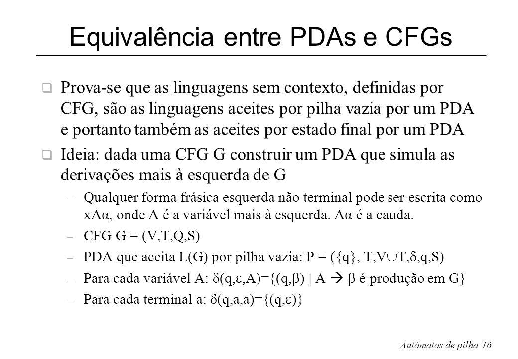 Autómatos de pilha-16 Equivalência entre PDAs e CFGs Prova-se que as linguagens sem contexto, definidas por CFG, são as linguagens aceites por pilha v