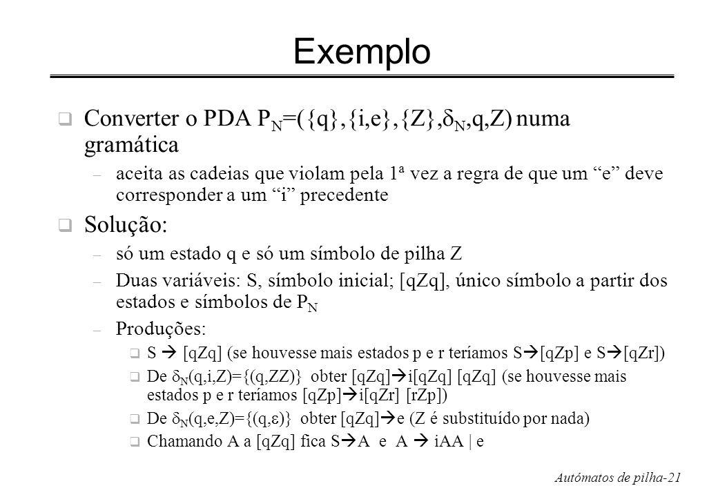 Autómatos de pilha-21 Exemplo Converter o PDA P N =({q},{i,e},{Z}, N,q,Z) numa gramática – aceita as cadeias que violam pela 1ª vez a regra de que um