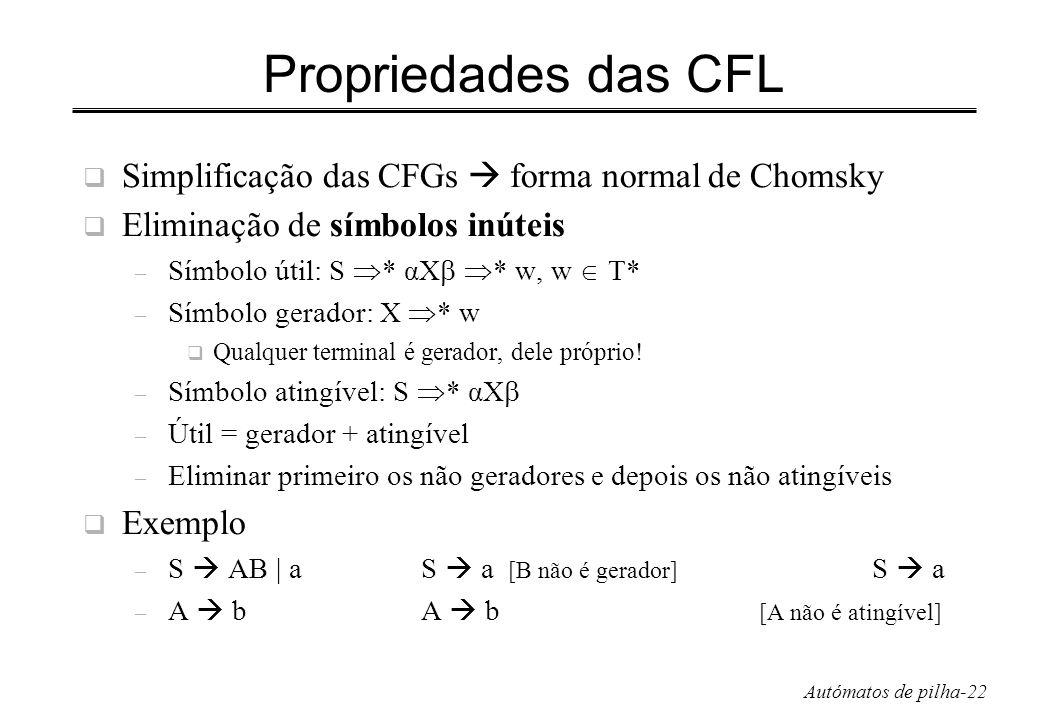 Autómatos de pilha-22 Propriedades das CFL Simplificação das CFGs forma normal de Chomsky Eliminação de símbolos inúteis – Símbolo útil: S * αX * w, w