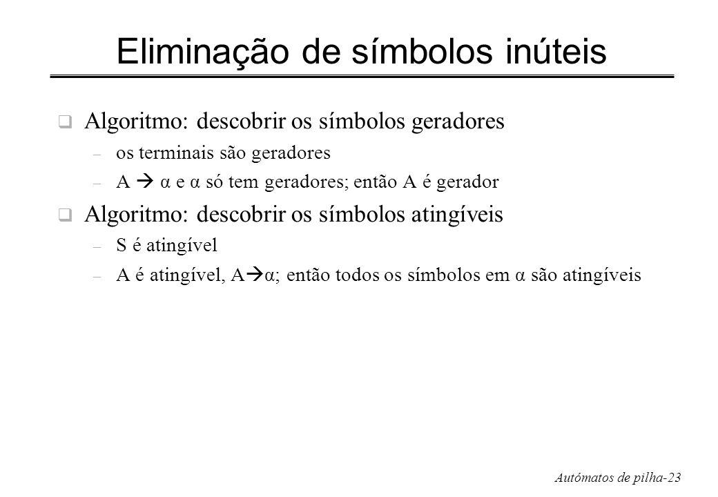 Autómatos de pilha-23 Eliminação de símbolos inúteis Algoritmo: descobrir os símbolos geradores – os terminais são geradores – A α e α só tem geradore