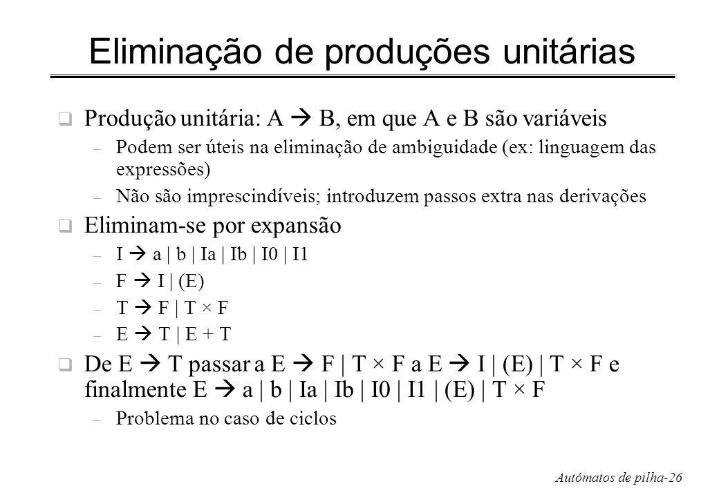 Autómatos de pilha-26 Eliminação de produções unitárias Produção unitária: A B, em que A e B são variáveis – Podem ser úteis na eliminação de ambiguid