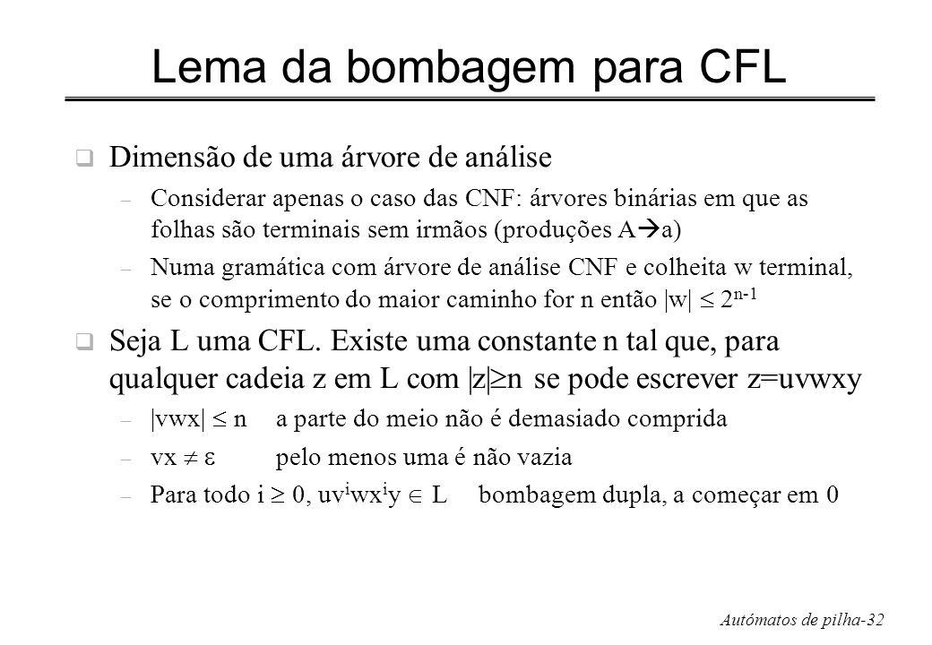 Autómatos de pilha-32 Lema da bombagem para CFL Dimensão de uma árvore de análise – Considerar apenas o caso das CNF: árvores binárias em que as folha