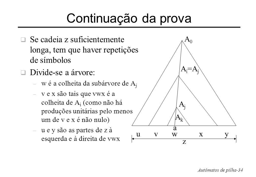 Autómatos de pilha-34 Continuação da prova Se cadeia z suficientemente longa, tem que haver repetições de símbolos Divide-se a árvore: – w é a colheit