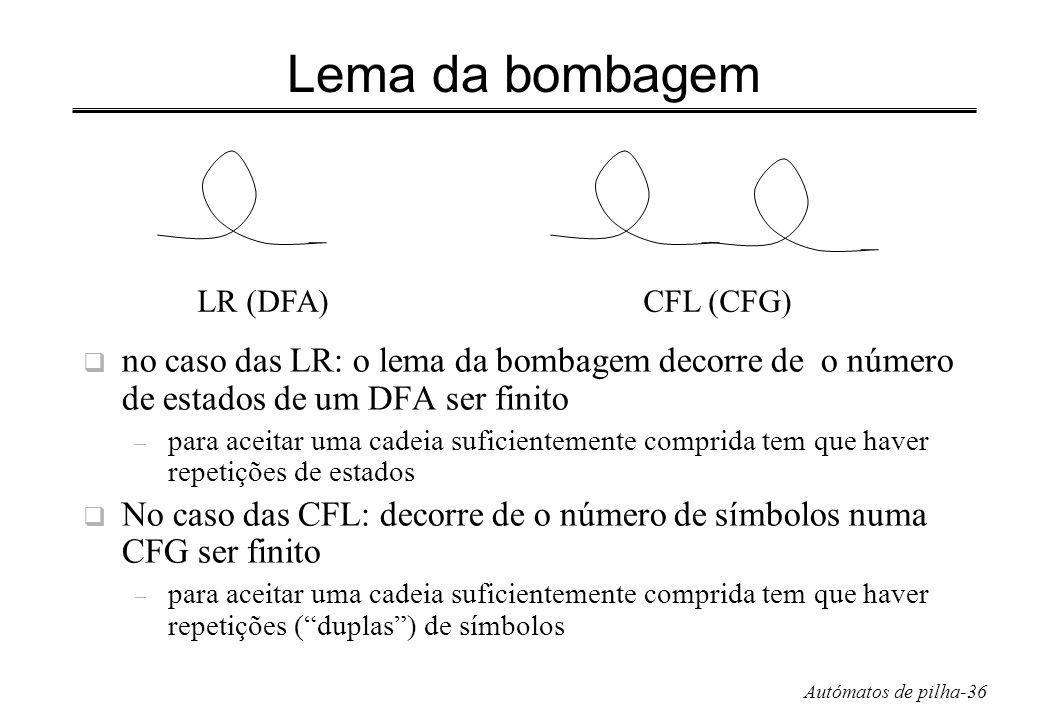 Autómatos de pilha-36 Lema da bombagem no caso das LR: o lema da bombagem decorre de o número de estados de um DFA ser finito – para aceitar uma cadei
