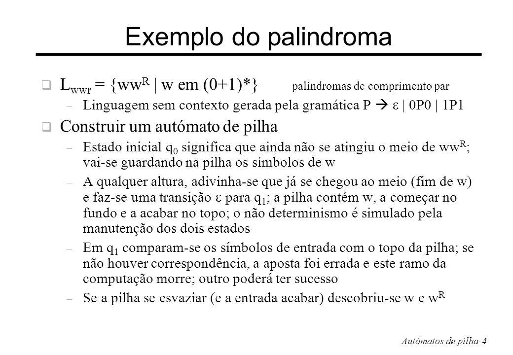 Autómatos de pilha-5 Definição Autómato de pilha (PDA) P= (Q,,,, q 0, Z 0, F) – Q: conjunto finito de estados – : conjunto finito de símbolos de entrada – : alfabeto da pilha finito – : função de transição (q, a, X) = {(p 1, 1 ), …} finito q é um estado, a um símbolo de entrada ou, X um símbolo da pilha p 1 é o novo estado, 1 é a cadeia de símbolos da pilha que substitui X no topo – 1 = pop do topo da pilha – 1 = X pilha inalterada – 1 = YZ X substituído por Z e push do Y a seguir – q 0 : estado inicial – Z 0 : símbolo inicial, conteúdo inicial da pilha – F: conjunto de estados de aceitação ou finais