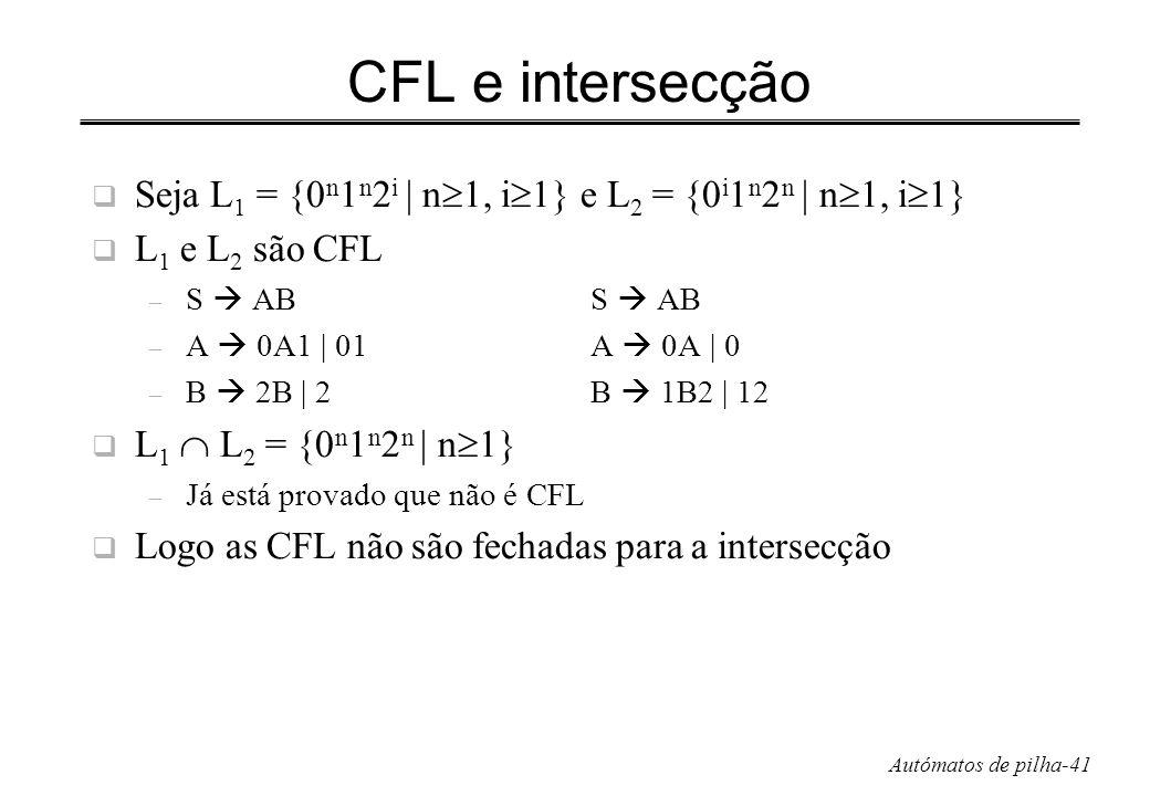 Autómatos de pilha-41 CFL e intersecção Seja L 1 = {0 n 1 n 2 i | n 1, i 1} e L 2 = {0 i 1 n 2 n | n 1, i 1} L 1 e L 2 são CFL – S ABS AB – A 0A1 | 01