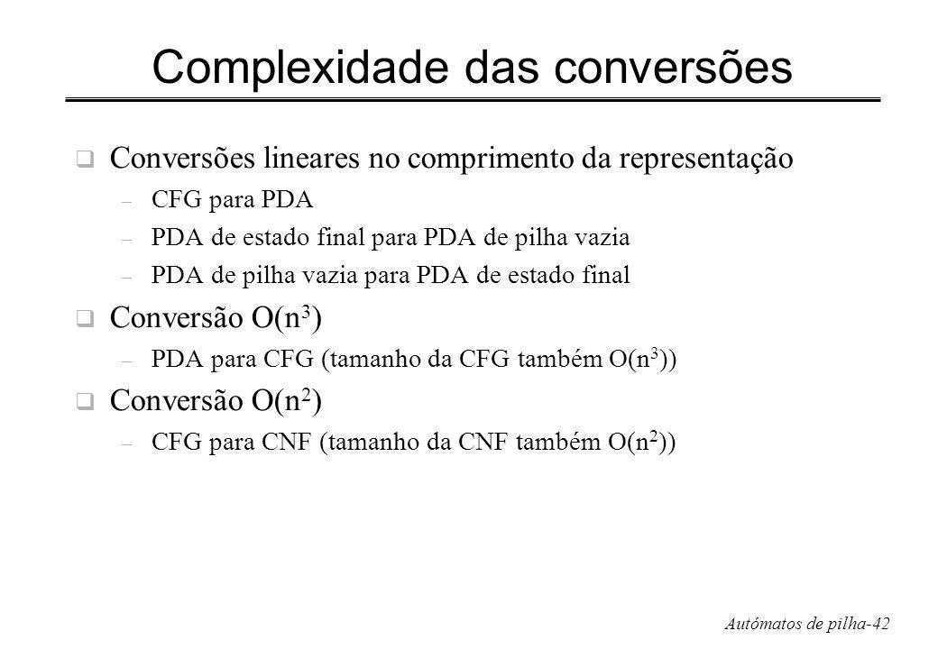 Autómatos de pilha-42 Complexidade das conversões Conversões lineares no comprimento da representação – CFG para PDA – PDA de estado final para PDA de