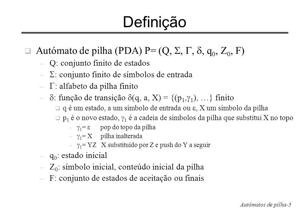 Autómatos de pilha-6 De novo o exemplo PDA de L wwr P = ({q 0,q 1,q 2 }, {0,1}, {0,1,Z 0 },, q 0, Z 0, {q 2 }) – Z 0 usado para marcar o fundo da pilha e permitir no fim da leitura de ww R passar para o estado de aceitação q 2 – (q 0,0,Z 0 )= {(q 0,0Z 0 )} e (q 0,1,Z 0 )= {(q 0,1Z 0 )} topo da pilha à esquerda – (q 0,0,0)= {(q 0,00)}, (q 0,0,1)= {(q 0,01)}, (q 0,1,0)= {(q 0,10)}, (q 0,1,1)= {(q 0,11)} – (q 0,,Z 0 )= {(q 1,Z 0 )}, (q 0,,0)= {(q 1,0)}, (q 0,,1)= {(q 1,1)} – (q 1,0,0)= {(q 1, )} e (q 1,1,1)= {(q 1, )} – (q 1,,Z 0 )= {(q 2,Z 0 )}