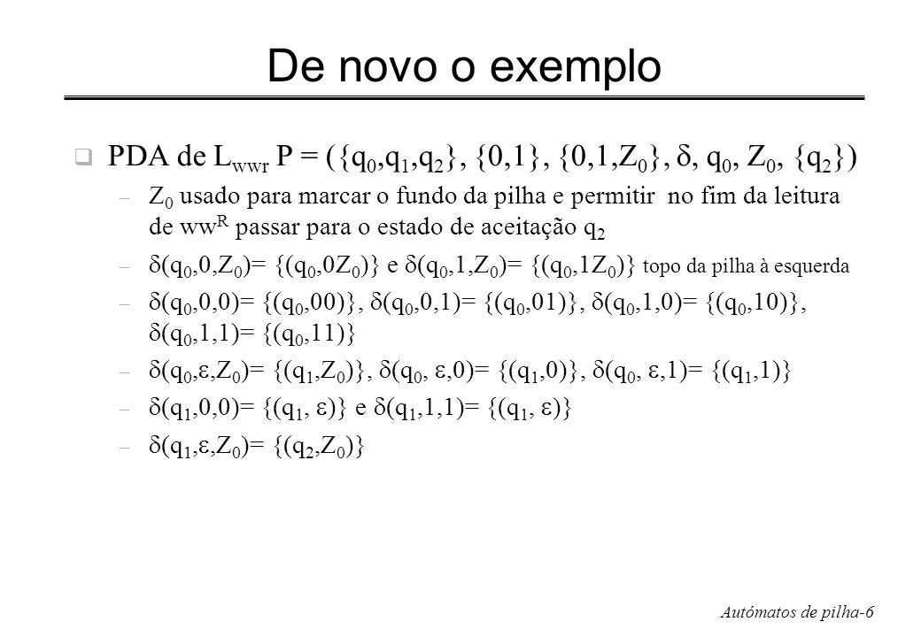 Autómatos de pilha-27 Eliminação de produções unitárias Algoritmo: descobrir todos os pares unitários, deriváveis apenas com produções unitárias – (A, A) é um par unitário – (A, B) é um par unitário e B C, C variável; então (A, C) é unitário Exemplo: (E, E), (T, T), (F, F), (E, T), (E, F), (E, I), (T, F), (T, I), (F, I) Eliminação: substituir as produções existentes de forma a que para cada par unitário (A, B) se incluam todas as produções da forma A α em que B α é uma produção não unitária (incluir A=B)