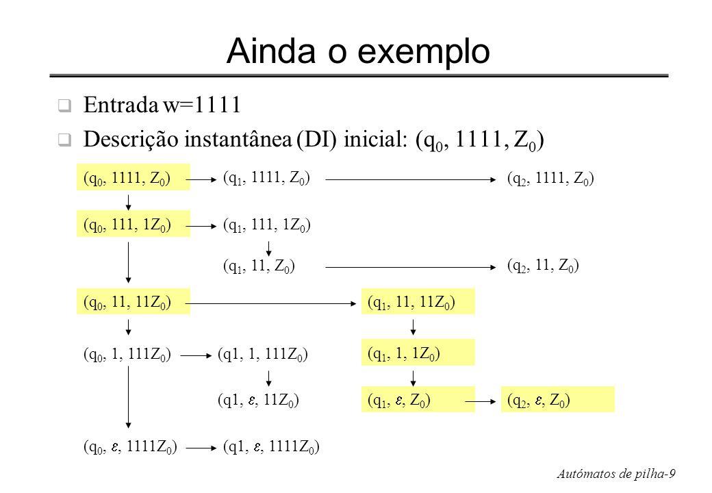 Autómatos de pilha-9 Ainda o exemplo Entrada w=1111 Descrição instantânea (DI) inicial: (q 0, 1111, Z 0 ) (q 0, 1111, Z 0 ) (q 1, 1111, Z 0 ) (q 2, 11