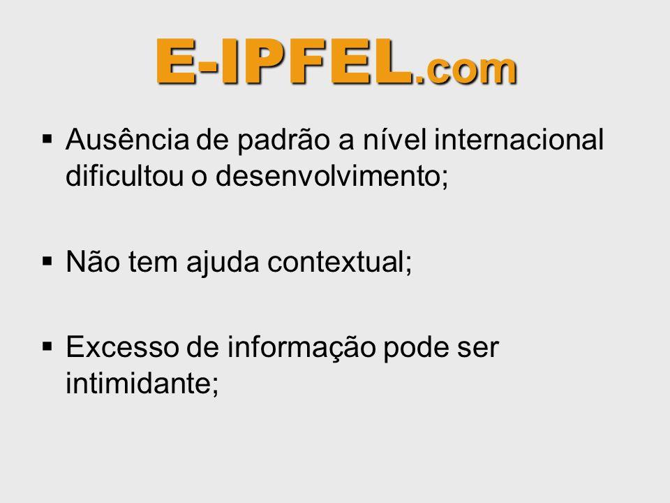E-IPFEL.com Ausência de padrão a nível internacional dificultou o desenvolvimento; Não tem ajuda contextual; Excesso de informação pode ser intimidante;