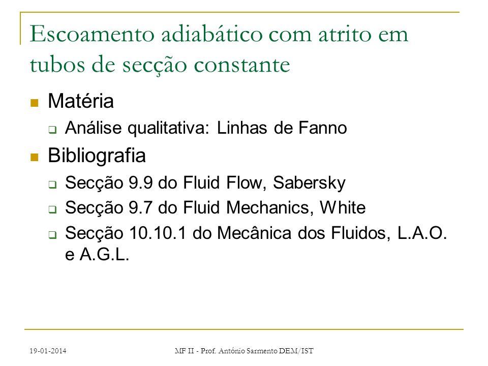 19-01-2014 MF II - Prof. António Sarmento DEM/IST Escoamento adiabático com atrito em tubos de secção constante Matéria Análise qualitativa: Linhas de