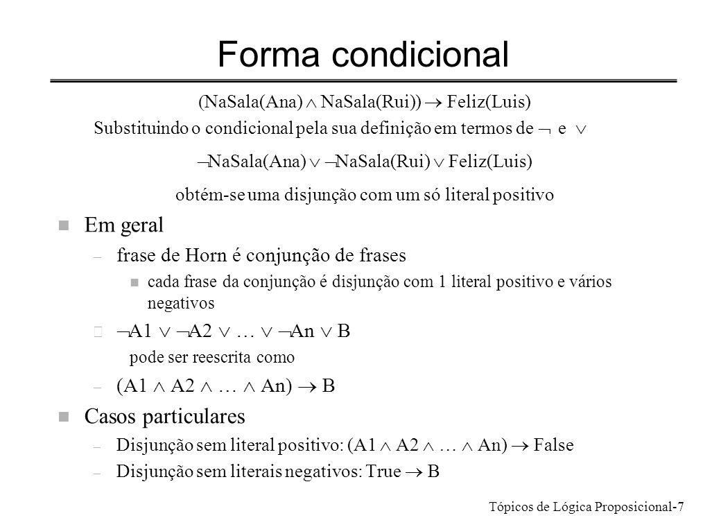 Tópicos de Lógica Proposicional-7 Forma condicional NaSala(Ana) NaSala(Rui)) Feliz(Luis) Substituindo o condicional pela sua definição em termos de e
