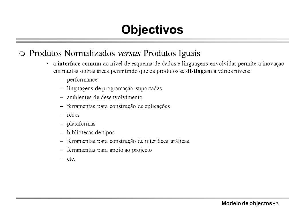 Modelo de objectos - 2 Objectivos m Produtos Normalizados versus Produtos Iguais a interface comum ao nível de esquema de dados e linguagens envolvida