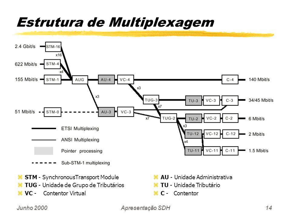 Junho 2000Apresentação SDH14 zSTM - SynchronousTransport Module zTUG - Unidade de Grupo de Tributários zVC - Contentor Virtual Estrutura de Multiplexa